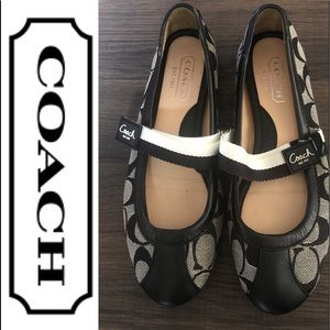 Coach Black Monogram Janey  Flats Size 5M shoes